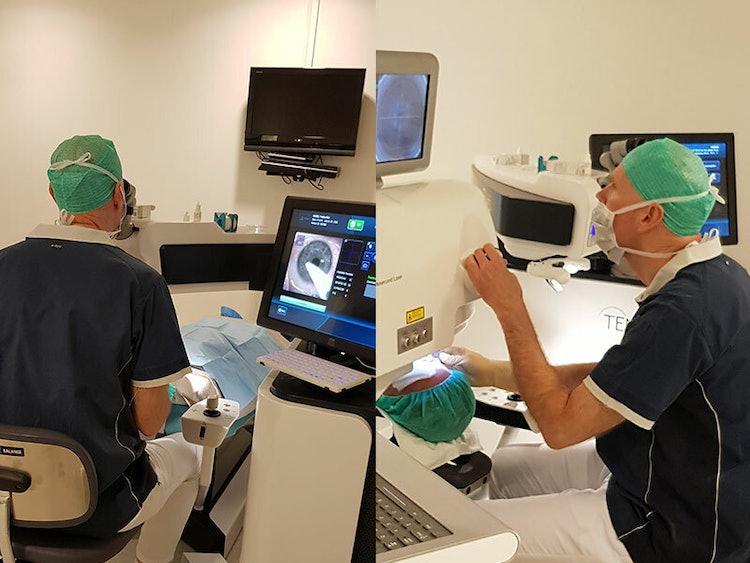 Maria under laseroperasjonen hos ABC synskirurgi, utføres av øyelege Trond Thilesen