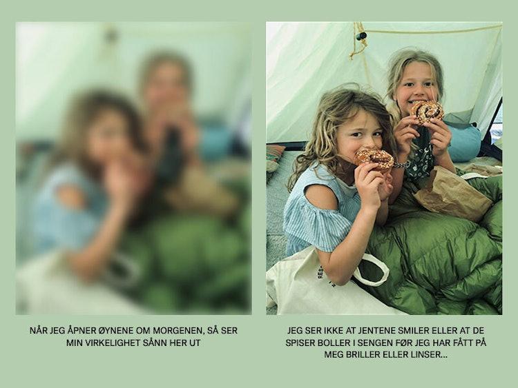 Bilde av barna til Maria, redigert for å forestille synet hennes før og etter laseroperasjonen hos ABC synskirurgi