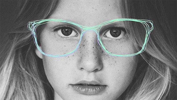 Bilde fra Krogh Optikk av et barn med illustrerte briller