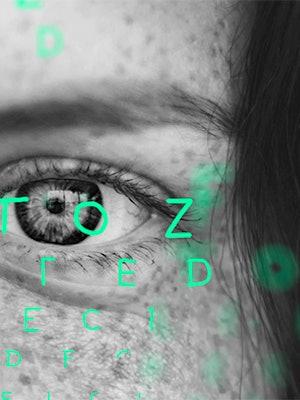 Bilde av bokstaver over et øye som skal illustrere en synstest