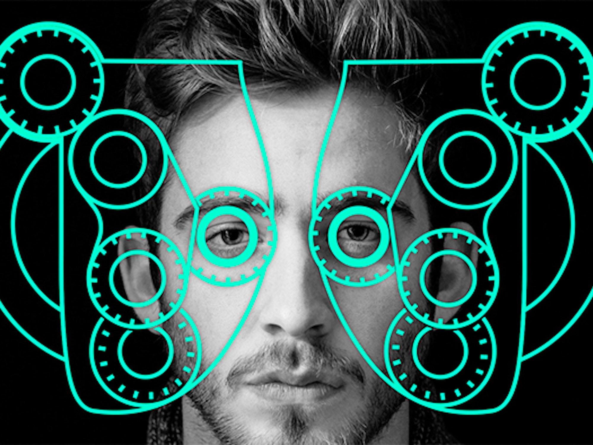 Illustrasjon fra Krogh Optikk av en mann som gjennomgår en synstest.