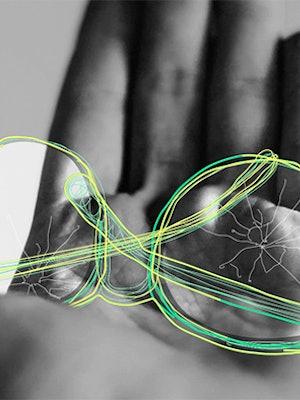 Illustrasjon fra Krogh Optikk med en hånd, med tegnede briller