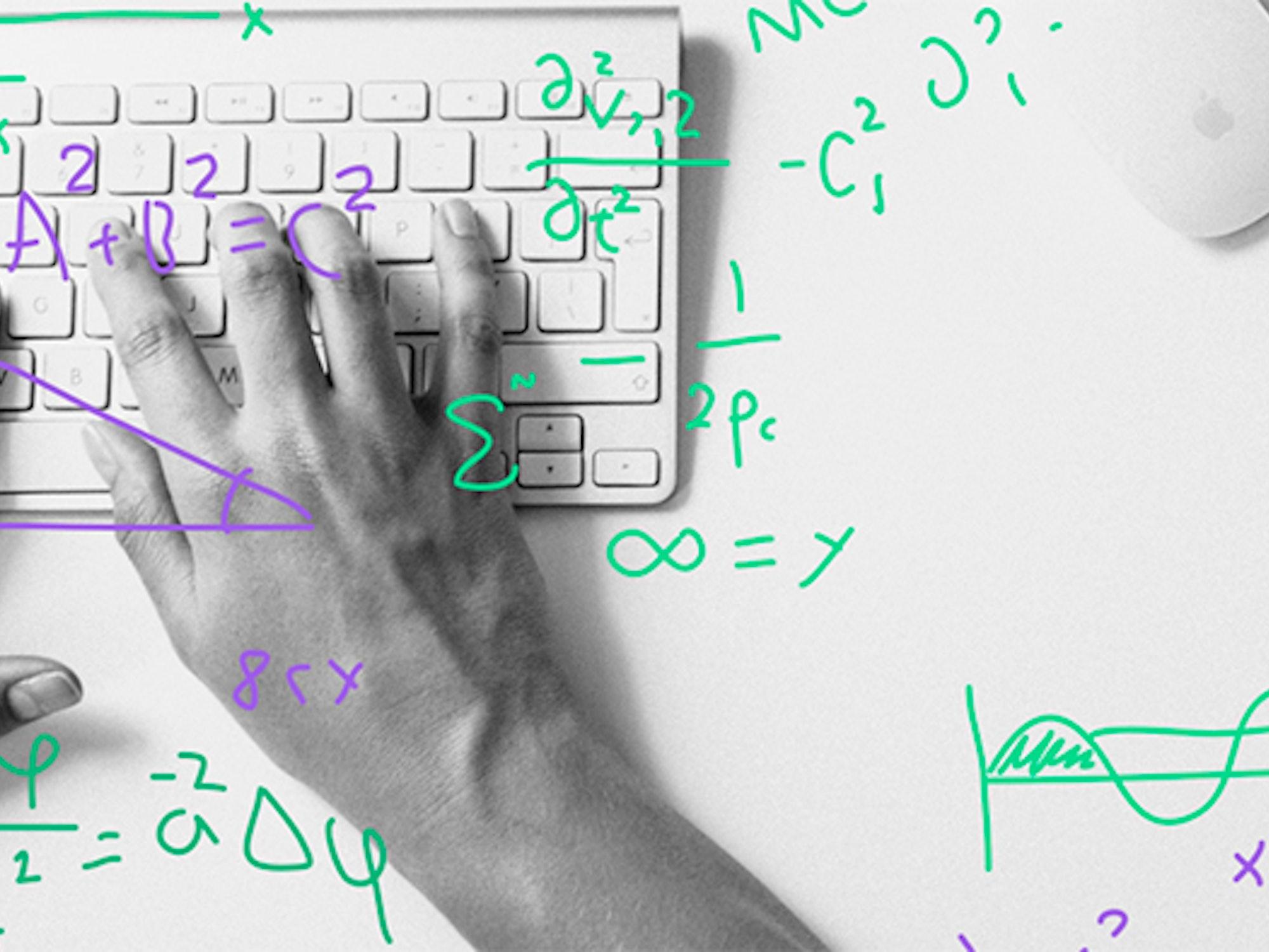 Illustrasjon fra Krogh Optikk av hender og tastatur