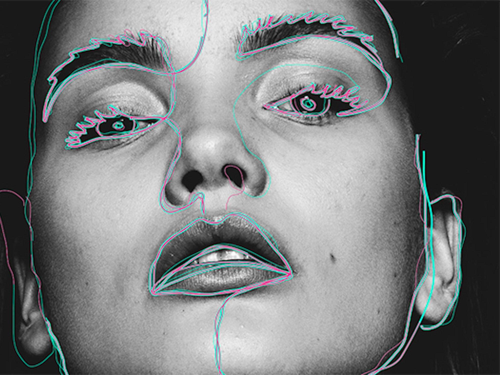 illustrasjon av et kvinneansikt med fokus på øynene