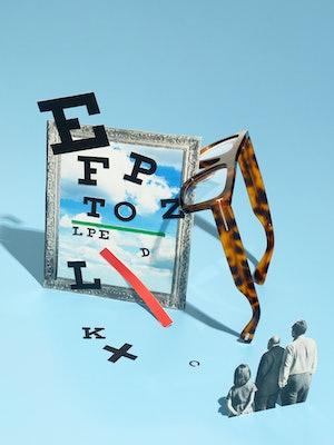 Bilde av bokstaver og en brille for å illustrere synstest